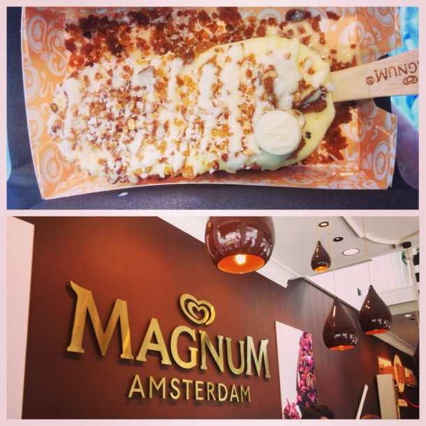 Design your own Magnum ice cream! I got waffle pieces, caramelised hazelnut, coconut and white chocolate on mine.