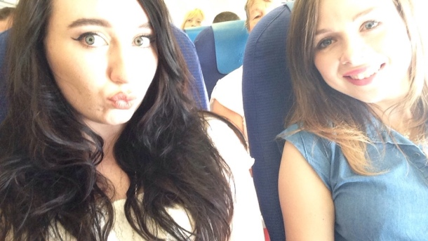 My friend Heather and me on the plane!